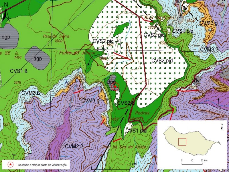 Geological map of Madeira Island detail, sheet a - PS01