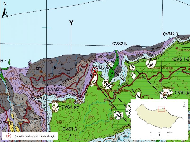 Geological map of Madeira Island detail, Sheet a and b - S02