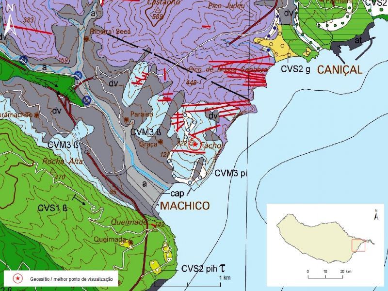 Geological map of Madeira Island detail, Sheet b - M03