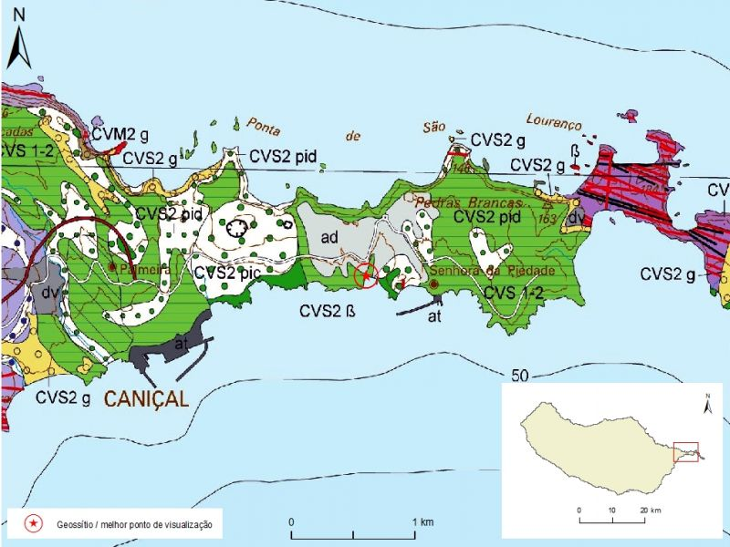 Geological map of Madeira Island detail, Sheet b - M01PSL04